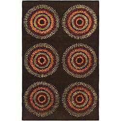 Safavieh Handmade Deco Explosions Brown/ Multi N. Z. Wool Rug - 7'6 x 9'6 - Thumbnail 0