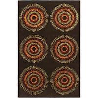 Safavieh Handmade Deco Explosions Brown/ Multi N. Z. Wool Rug - 7'6 x 9'6