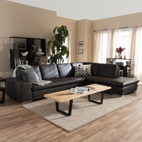 Larry Dark Brown Sectional Sofa/ Chaise Set : brown sectional sofa with chaise - Sectionals, Sofas & Couches