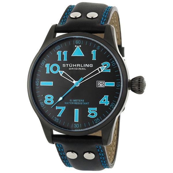 Stuhrling Original 'Eagle' Men's Black/Blue Pilot Swiss Quartz Watch
