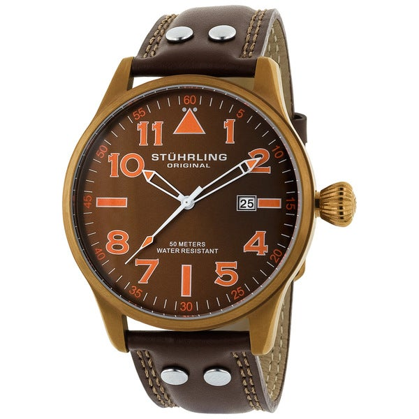 Stuhrling Original 'Eagle' Men's Brown/Orange Pilot Swiss Quartz Watch