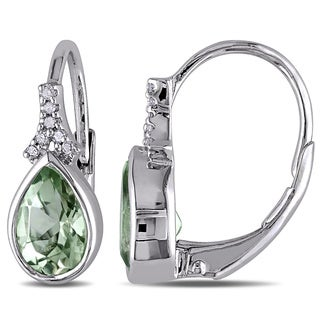 Miadora Sterling Silver Green Amethyst and Diamond Earrings