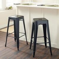 shop tabouret 24 inch black metal counter stools set of 2 free