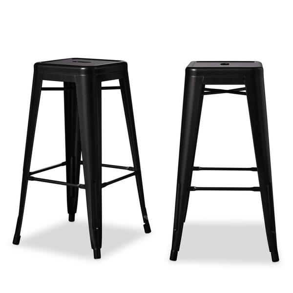 Terrific Shop I Love Living 30 Inch Black Metal Bar Stools Set Of 2 Creativecarmelina Interior Chair Design Creativecarmelinacom