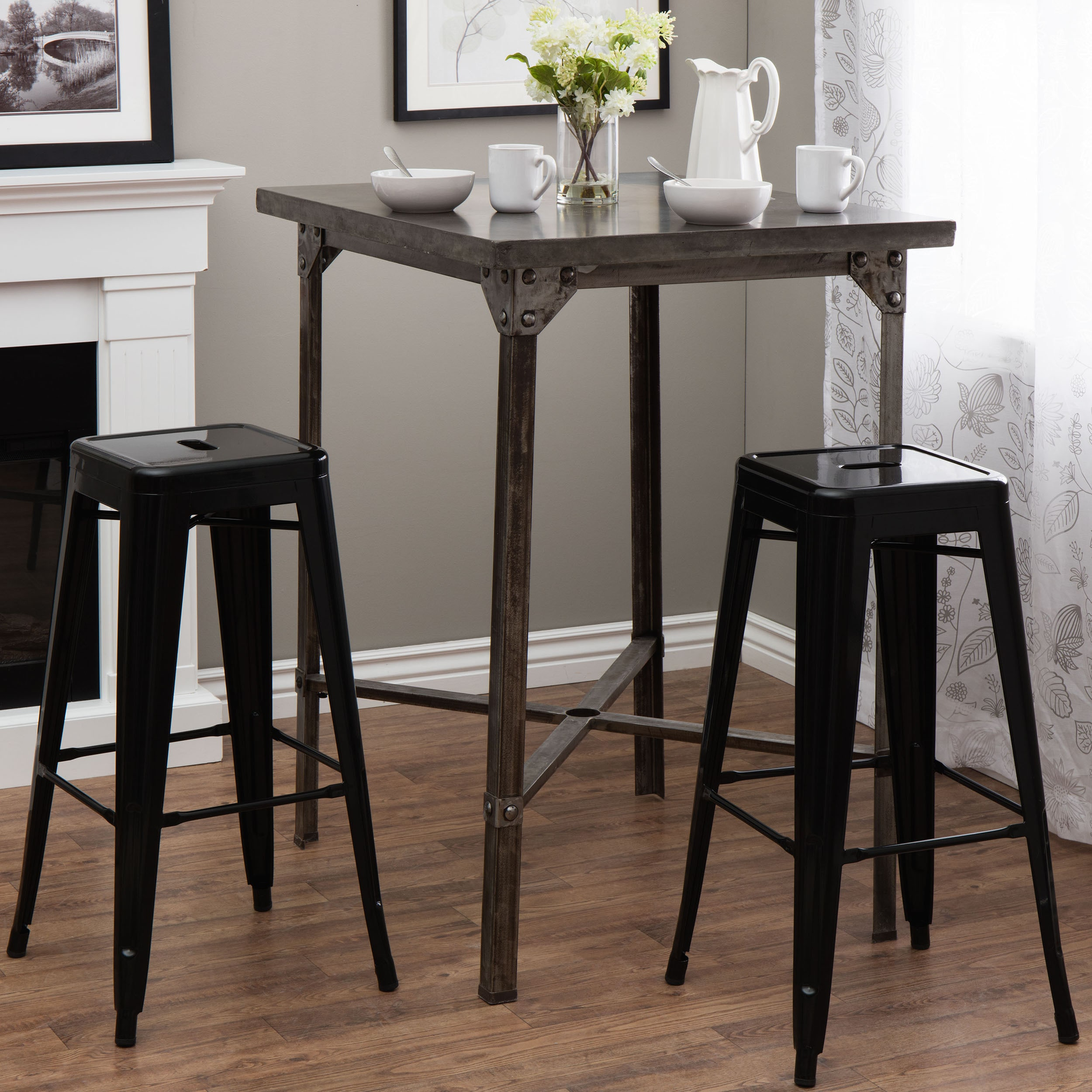 Amazing Tabouret Furniture Contemporary Black Metal Chairs Seat Bar Stools Set Of 2  New