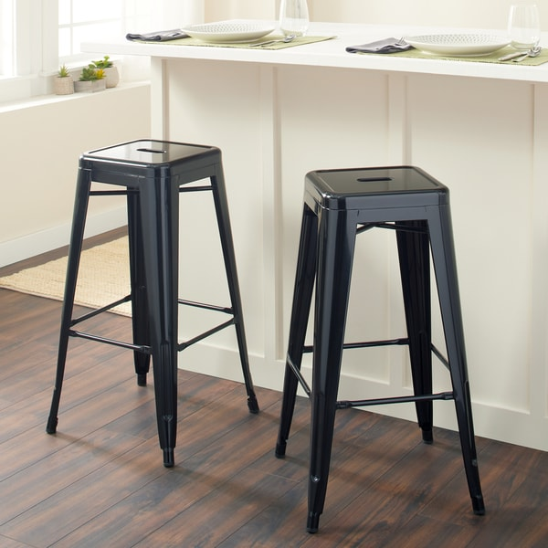 Carbon Loft Fowler 30-inch Black Metal Bar Stools (Set of 2)