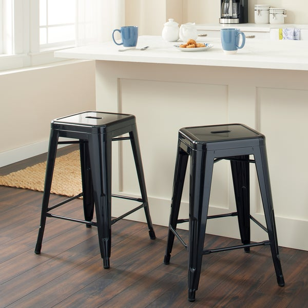 Tabouret 24 Inch Black Metal Counter Stools (Set Of 2)