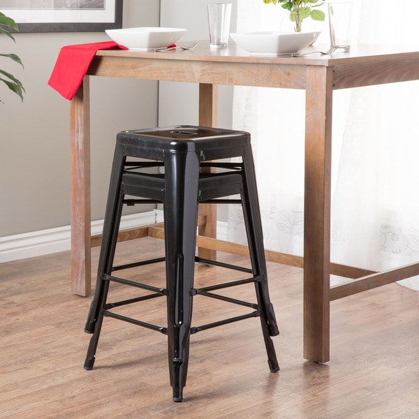 Tabouret 24-inch Black Metal Counter Stools (Set of 2) - Free Shipping Today - Overstock.com - 12238963 & Tabouret 24-inch Black Metal Counter Stools (Set of 2) - Free ... islam-shia.org