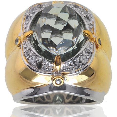 Michael Valitutti Silver/ 18k Vermeil Amethyst/ Sapphire Ring