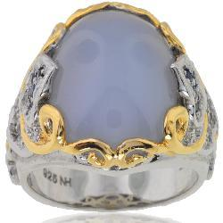 Michael Valitutti Silver/ 18k Vermeil Chalcedony/ Sapphire Ring