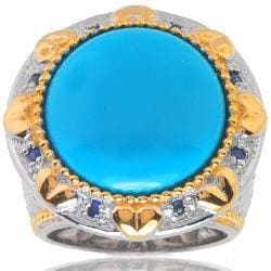 Michael Valitutti Palladium Silver Turquoise and Sapphire Ring
