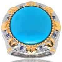 Michael Valitutti Palladium Silver Turquoise and Sapphire Ring