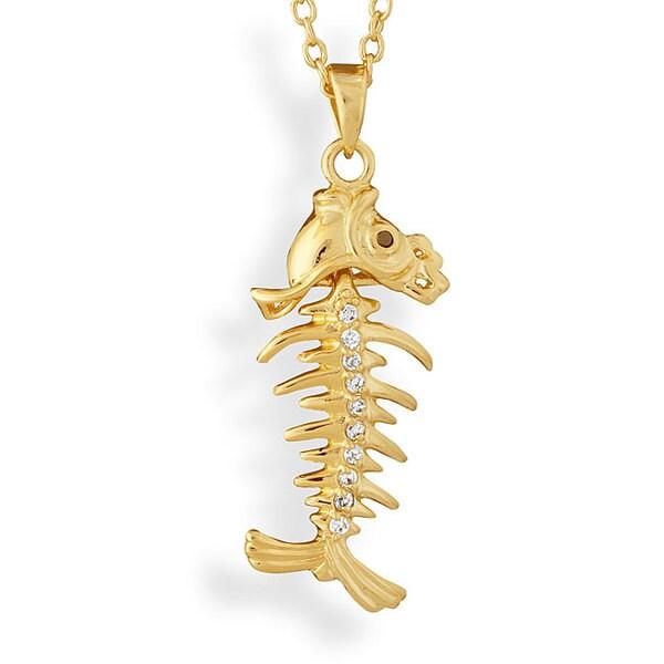 NEXTE Jewelry Solid Brass/ 14-karat Gold Overlay Fishbone Necklace