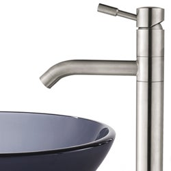 Kraus Frosted Black Glass Vessel Sink/Steel Faucet