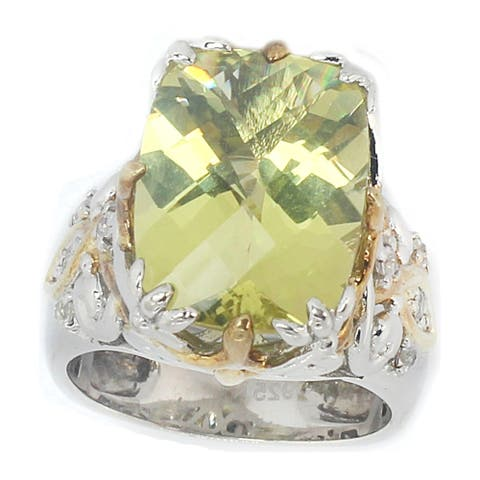 Gems en Vogue Palladium Silver Lemon Quartz & White Sapphire Ring