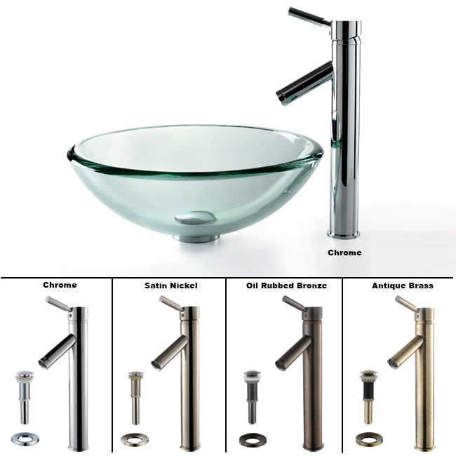 KRAUS 19 mm Thick Glass Vessel Sink with Single Hole Single-Handle Sheven Faucet in Satin Nickel