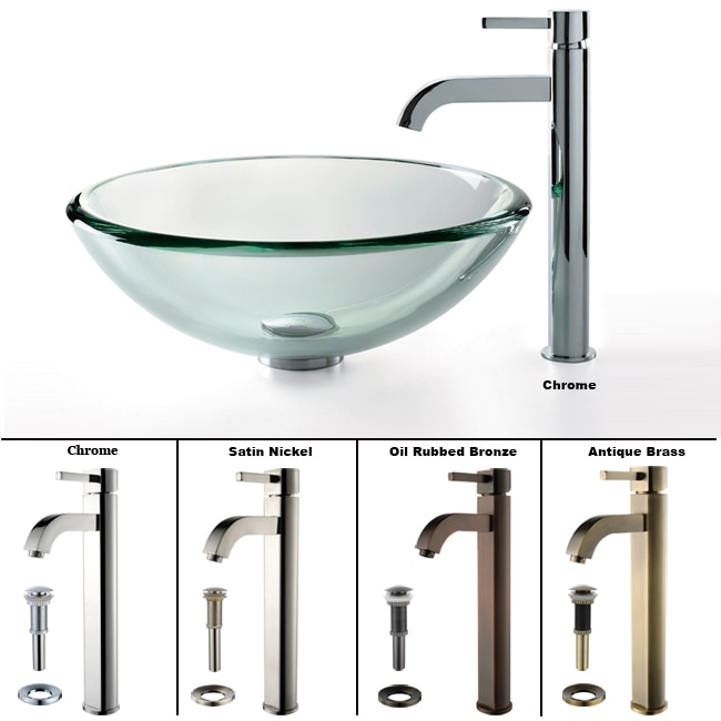KRAUS 19 mm Thick Glass Vessel Sink with Single Hole Single-Handle Ramus Faucet in Chrome