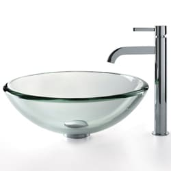 KRAUS 19 mm Thick Glass Vessel Sink with Single Hole Single-Handle Ramus Faucet in Chrome - Thumbnail 1