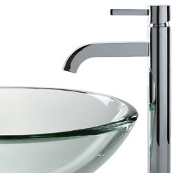KRAUS 19 mm Thick Glass Vessel Sink with Single Hole Single-Handle Ramus Faucet in Chrome - Thumbnail 2