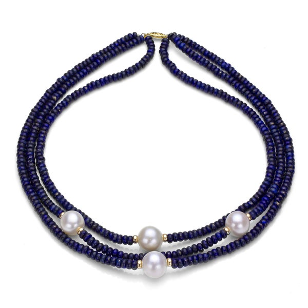 DaVonna 14k Gold 3-row Blue Lapis and White FW Pearl Necklace (11-12 mm)