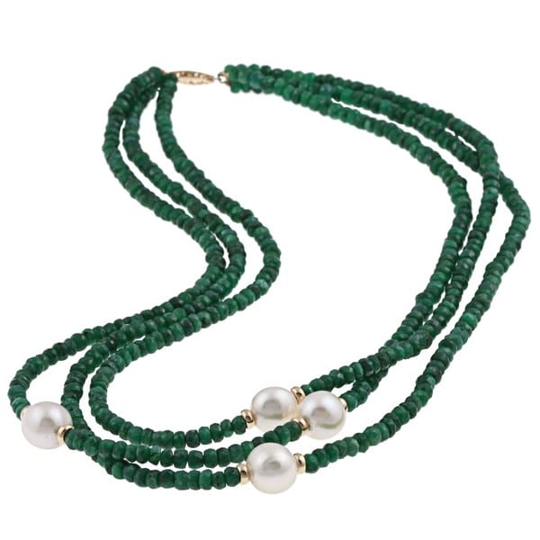 DaVonna 14k Gold 3-row Green Emerald and White FW Pearl Necklace (12-13 mm)