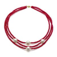 DaVonna 14k Gold 3-row Red Coral and White FW Pearl Necklace (11-12 mm)