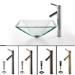 KRAUS Square Glass Vessel Sink in Clear with Sheven Faucet in Satin Nickel
