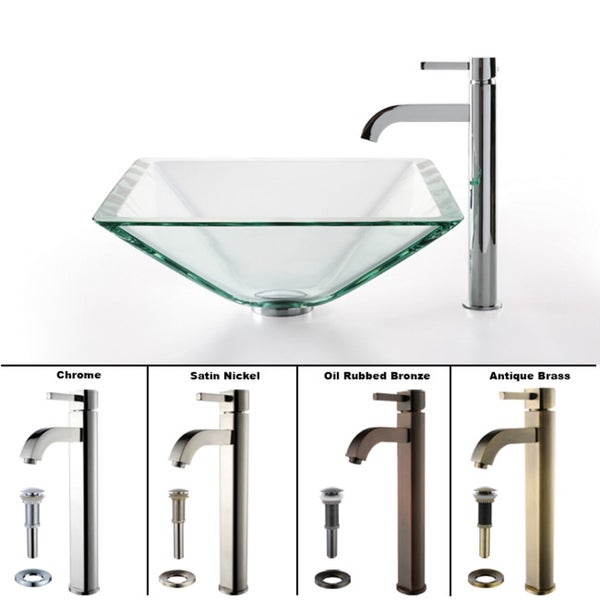 Kraus 4-in-1 Bathroom Set C-GVS-901-19mm-1007 Clear Glass Vessel Sink, Ramus Faucet, Pop Up Drain, Mounting Ring