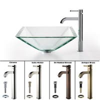 KRAUS Square Glass Vessel Sink in Clear with Ramus Faucet
