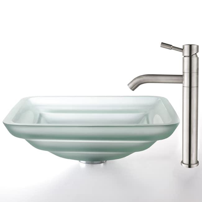 Kraus Oceania Frosted Glass Sink/ Aldo Steel Faucet