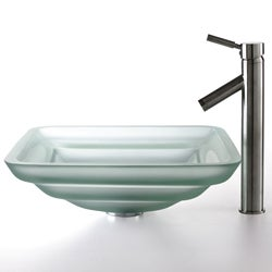 Kraus Oceania Frosted Glass Sink and Sheven Faucet