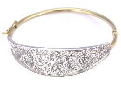 Ornate Spanish 14K Gold Overlay Bangle Bracelet (Mexico) - Thumbnail 1