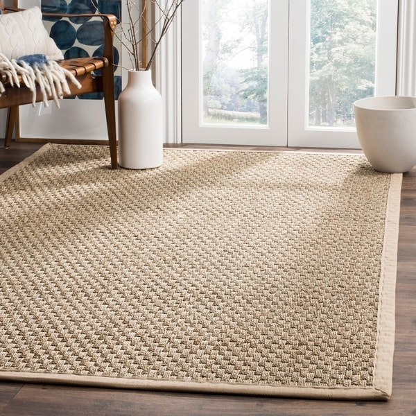 Safavieh Casual Natural Fiber Natural and Beige Border Seagrass Rug - 4' x 6'