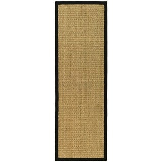 "Safavieh Casual Natural Fiber Hand-Woven Sisal Natural / Black Seagrass Runner Rug - 2'6"" x 12'"