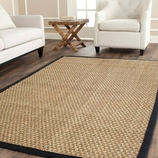 Safavieh Casual Natural Fiber Natural and Black Border Seagrass Rug (3' x 5')