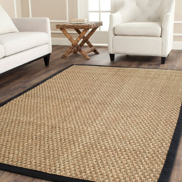 safavieh casual natural fiber natural and black border seagrass rug 6 39 x 9 39 free shipping. Black Bedroom Furniture Sets. Home Design Ideas