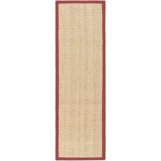 Safavieh Casual Natural Fiber Natural and Red Border Seagrass Runner (2'6 x 12')