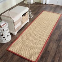 "Safavieh Casual Natural Fiber Hand-Woven Sisal Natural / Red Seagrass Runner Rug - 2'6"" x 8'"