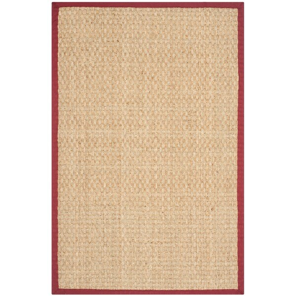 Safavieh Casual Natural Fiber Natural and Red Border Seagrass Rug (3' x 5')