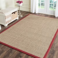Safavieh Casual Natural Fiber Natural and Red Border Seagrass Rug - 4' x 6'