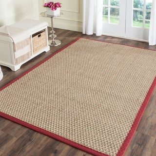 Safavieh Casual Natural Fiber Natural and Red Border Seagrass Rug - 6' x 9'