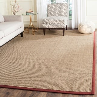Safavieh Casual Natural Fiber Natural and Red Border Seagrass Rug (8' x 10')