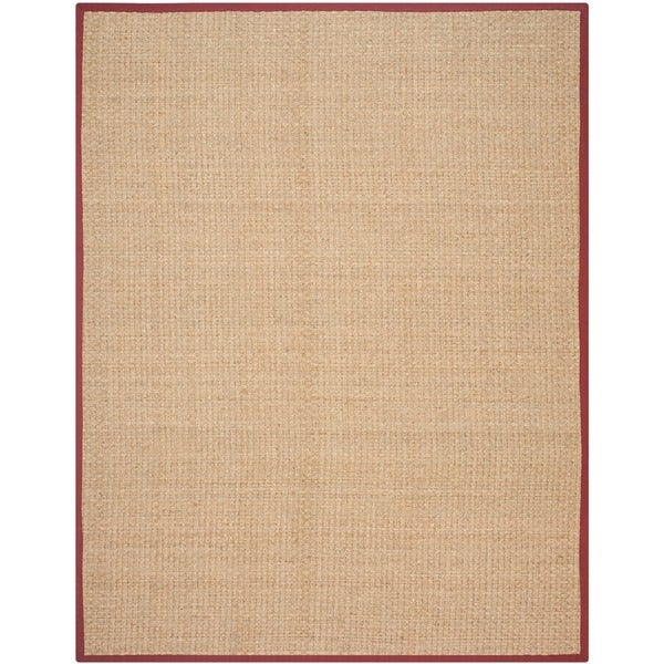 Safavieh Casual Natural Fiber Natural and Red Border Seagrass Rug - 8' x 10'
