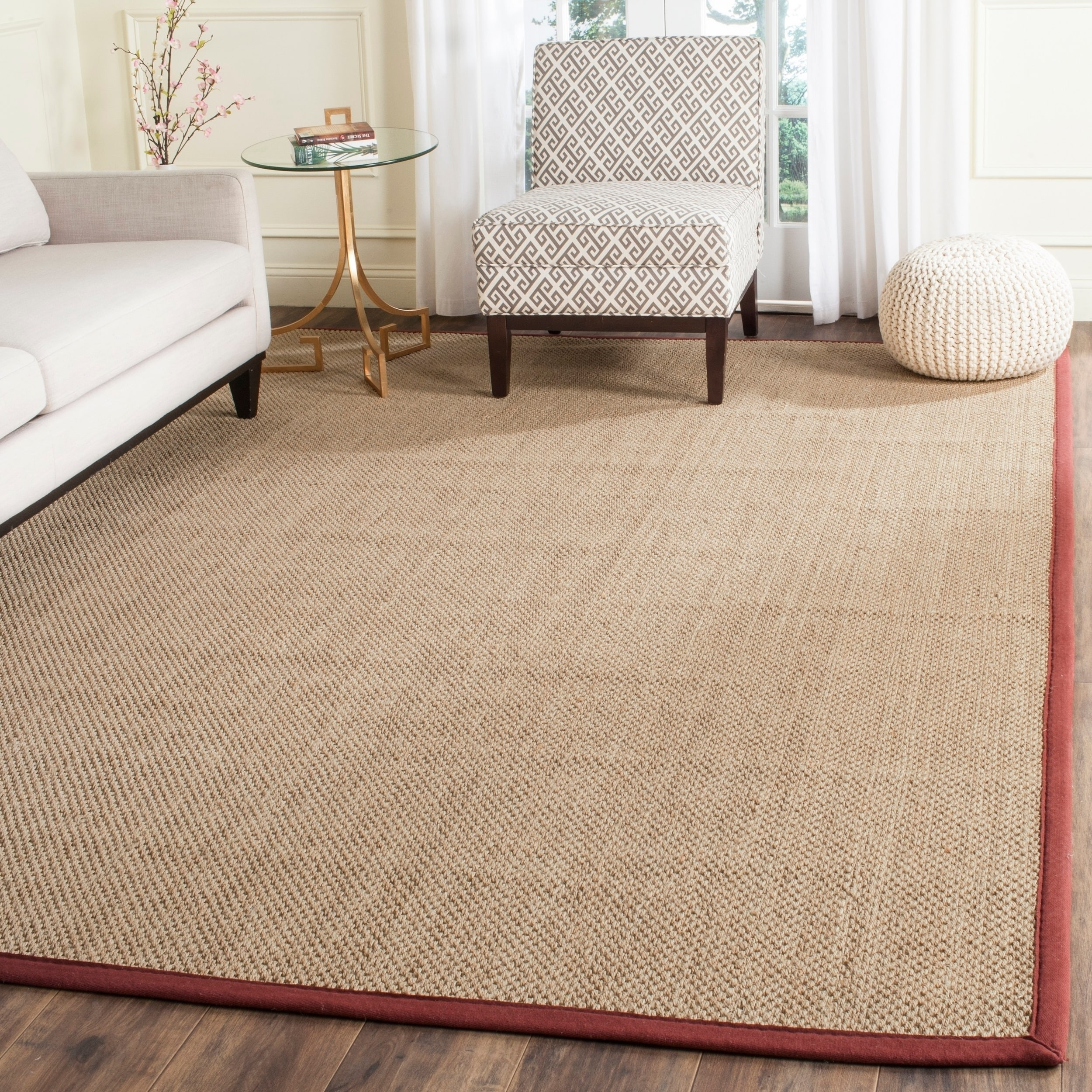 Safavieh Casual Natural Fiber Natural And Red Border Seagrass Rug