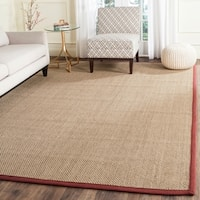 Safavieh Casual Natural Fiber Natural and Red Border Seagrass Rug - 9' x 12'