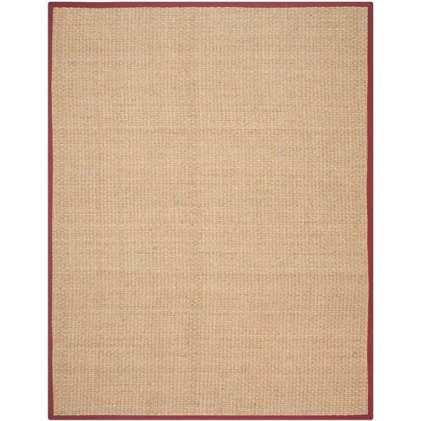 Safavieh Casual Natural Fiber Natural and Red Border Seagrass Rug (9' x 12')