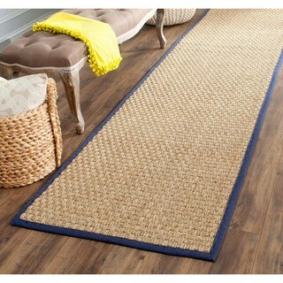 "Safavieh Casual Natural Fiber Natural and Blue Border Seagrass Runner - 2'6"" x 8'"