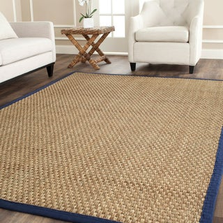 Safavieh Casual Natural Fiber Natural and Blue Border Seagrass Rug - 3' x 5'