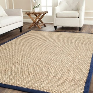 Safavieh Casual Natural Fiber Natural and Blue Border Seagrass Rug - 9' x 12'