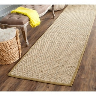 "Safavieh Casual Natural Fiber Natural and Olive Border Seagrass Runner (2'6"" x 12')"